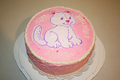 Anissa wanted a pink cake with a white kitty that had a pink nose for her 8th Birthday.  March 2013