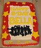 Cake #7: High School Musical cake: leopard cake, strawberry filling, buttercream icing with fondant stars and curtain, frozen buttercream transfer silhouette, sparkles