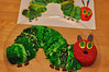 Very Hungry Caterpillar cake for Patrick's 1st birthday (still missing a few fuzzy-wuzzy pieces)