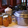 Done! Pumpkin, like all non-acid foods, MUST be canned using a large pressure cooker/canner (like the one in front). I've had this one for 25 or 26 years!