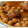 Stewed garbanzas - chickpeas stewed with pork, olives and raisins