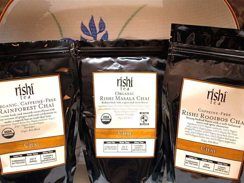 Rishi Rainforest, Masala, and Rooibos Chai, (and not pictured Minty Green Chai.)