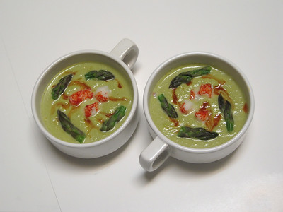 Asparagus Bisque with Crab Meat