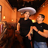 Herradura Vieja Restaurante Mexicano, new Mexican restaurant on Summer Street in Chelmsford. Waitress Cristhian Enriquez of Nashua, and owner Ramiro Ayala of Nashua, with the horse and hat that kids (and adults) can pose for photos on for special occasions like birthdays. (SUN/Julia Malakie)