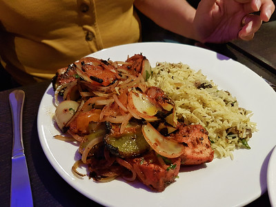 Chicken Shaslik - diced chicken marinated with herbs and spices and cooked with tomato, onion and capsicum. £8.95. Served in The Gandhi in Exeter