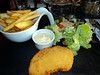 "Chicken & Chips - Crispy chicken served with fries and sauces. €12.90. Served in ""Au Bureau""<br /> <br /> 07/06/14"