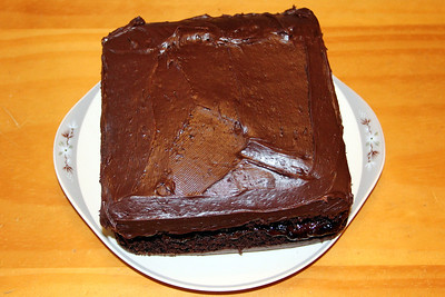 Cakes sandwiched together with chocolate frosting and home-made plum jam.