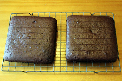 Chocolate cakes turned out of the tins