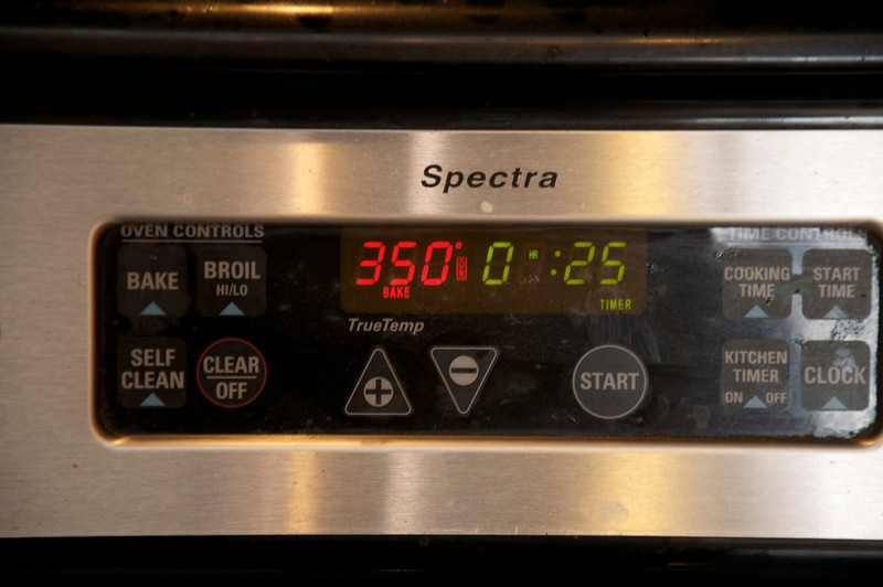Preheat to 350° and set timer to 25 minutes.