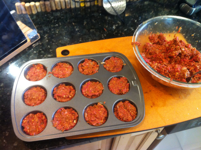 Use a muffin in to scoop your meat into.