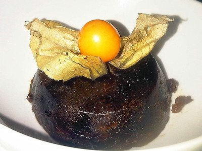 """Christmas Pudding. Served in the """"Two Mile Oak"""" near Newton Abbot  07/12/12"""