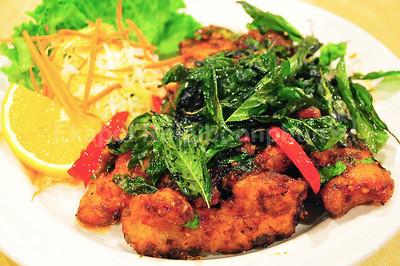 Crispy Basil Spicy Salmon     --   http://www.cocurry.com/