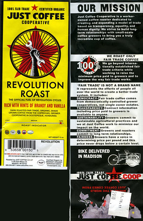Revolution Roast from the Just Coffee Cooperative, Madison, Wisconsin. Purchased at Revolution Bicycles 8/20/2011. Thanks, Anne!