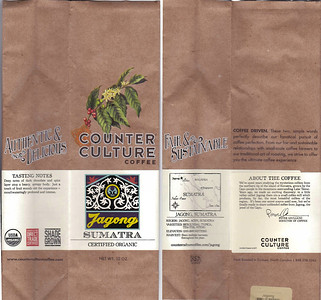 Counter Culture coffee from Durham, North Carolina. Purchased at a food coop in Asheville.