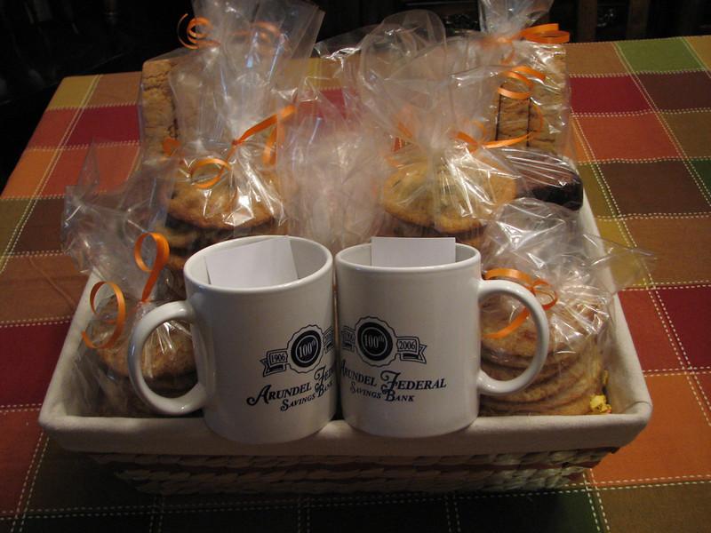 Arundel Federal Saving Bank Gift Basket.  Snickerdoodles, Chocolate Chip Cookies, Biscotti, Brownies, etc.