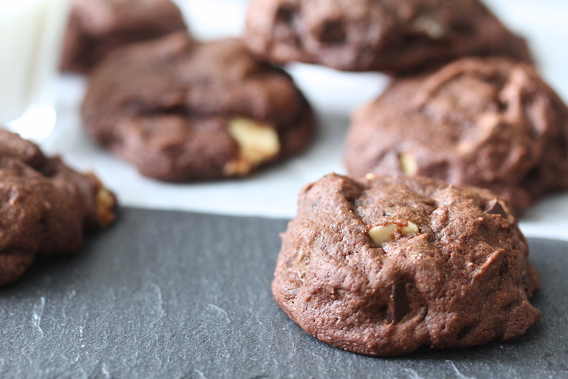 Double Chocolate Chunk Cookies with white chocolate and dark chocolate