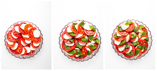 Photo collage showing tomato, basil and mozzarella salad being assembled.