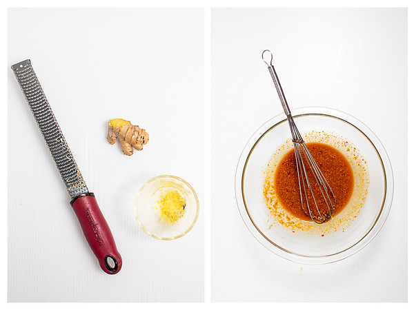 Photo collage showing how to make peanut sauce for noodles.