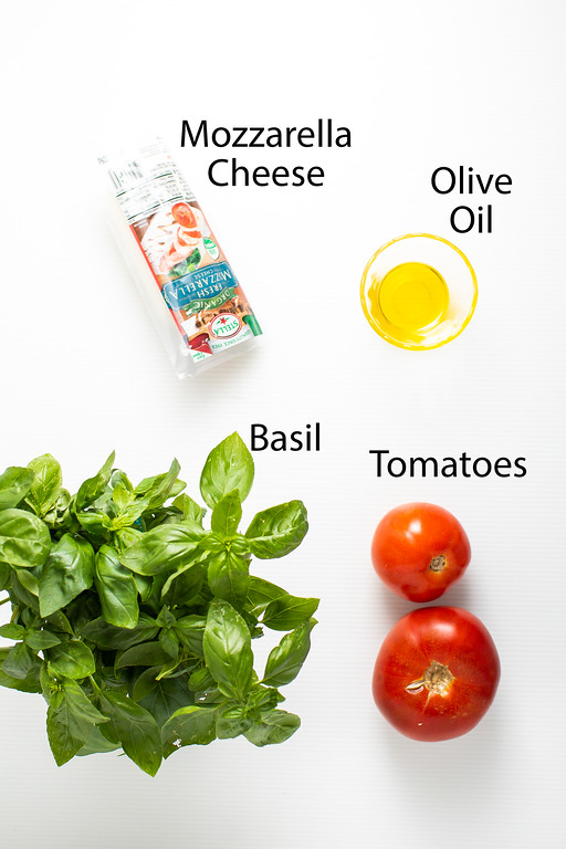 Mozzarella cheese, olive oil, basil and tomatoes.