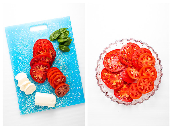 Basil, sliced tomato and sliced mozzarella cheese on a blue cutting board and then tomatoes in a tart pan.