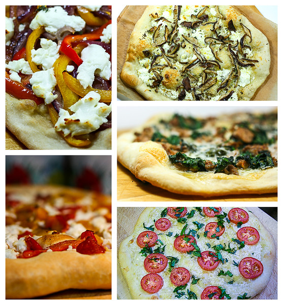 Photo collage of pizzas made with pizza dough.