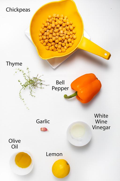 Chickpeas, thyme, bell pepper, garlic, olive oil, white wine vinegar and a lemon.