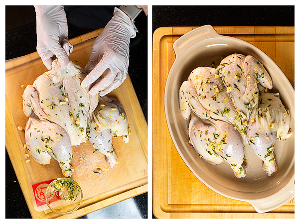 Photo collage showing chicken being rubbed with garlic and rosemary and then placed in a casserole dish.