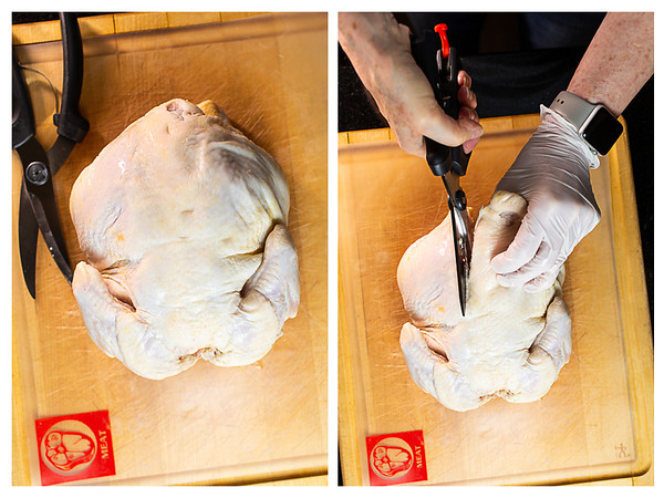 Photo collage showing raw chicken with a kitchen shears cutting out the backbone.