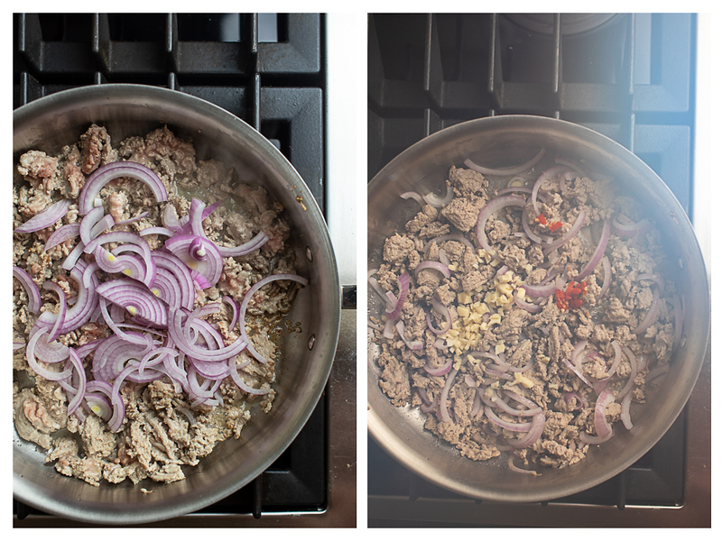 Photo collage showing red onions and chicken and then peppers and garlic added to skillet.