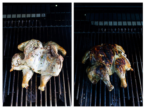 Photo collage showing chicken flipped from skin side down to skin side up on a gas grill.