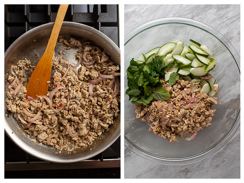 Photo collage showing chicken in a skillet and then in a bowl ready to be tossed with cucumbers and mint.