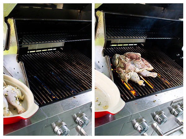Photo collage showing spatchcocked chicken being placed on a grill.