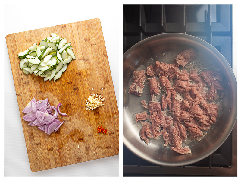 Photo collage showing veggies chopped and chicken being browned.