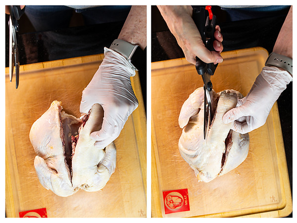 Photo collage showing backbone being cut out of a whole raw chicken.