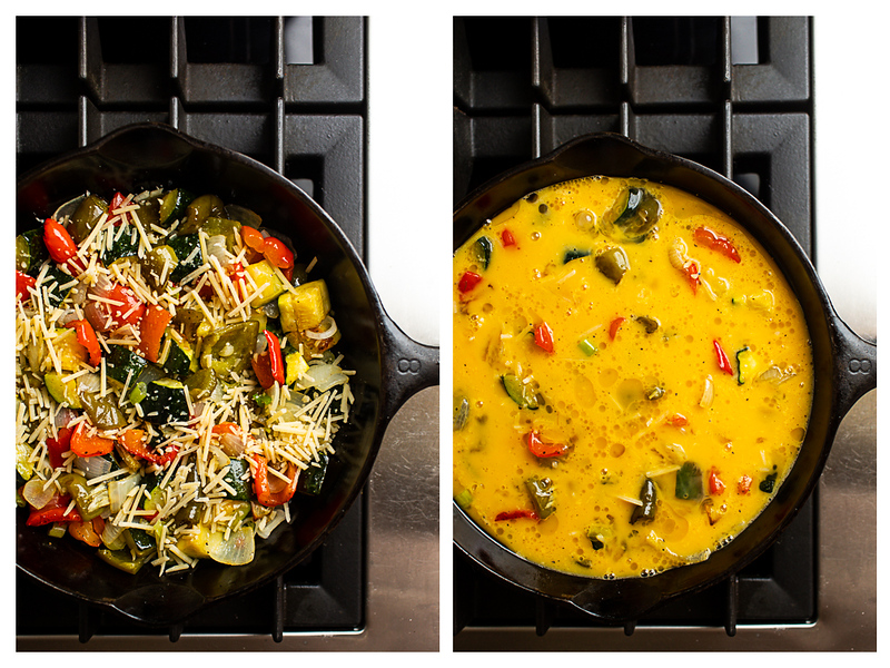 Photo collage showing vegetables with cheese on them and then later with eggs poured in the skillet.