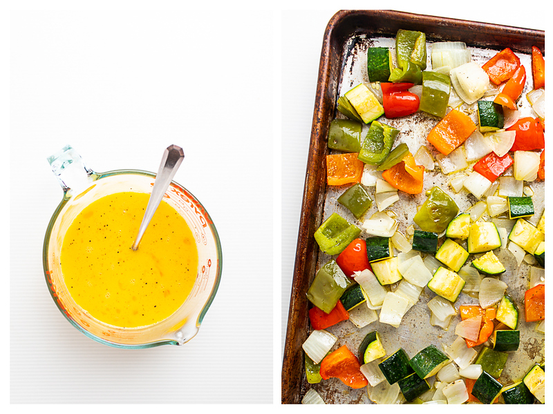 Photo collage showing egg mixture in a measuring cup and roasted vegetables.