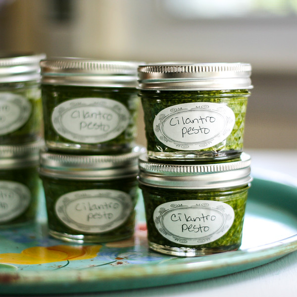Several small jars of cilantro pesto.