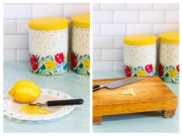 Photo collage showing lemon being zested and garlic being sliced.