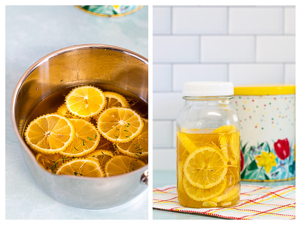 Photo collage showing lemons in a pot and then in a jar.