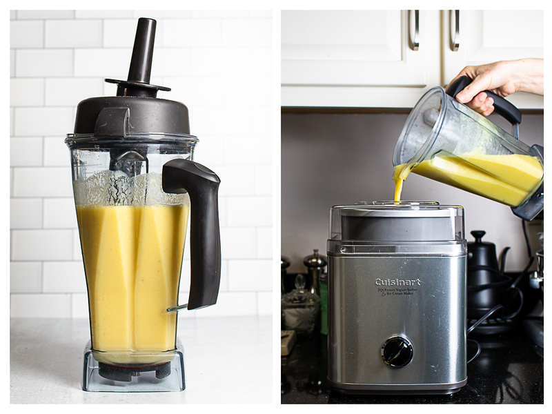 Photo collage showing pina colada sherbet in the blender and then being poured into the ice cream maker.