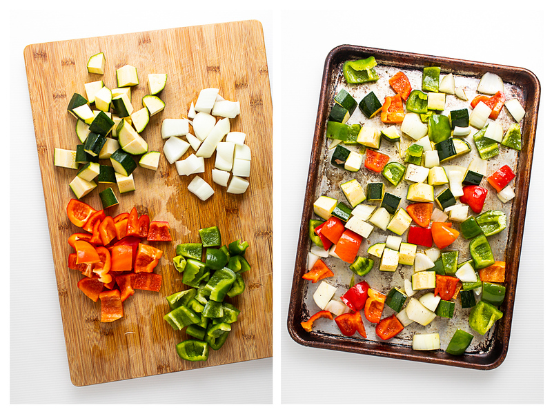 Photo collage showing vegetables chopped and then placed on a baking sheet.