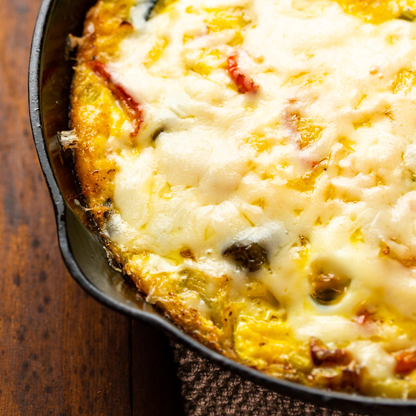 Close up of frittata in skillet.