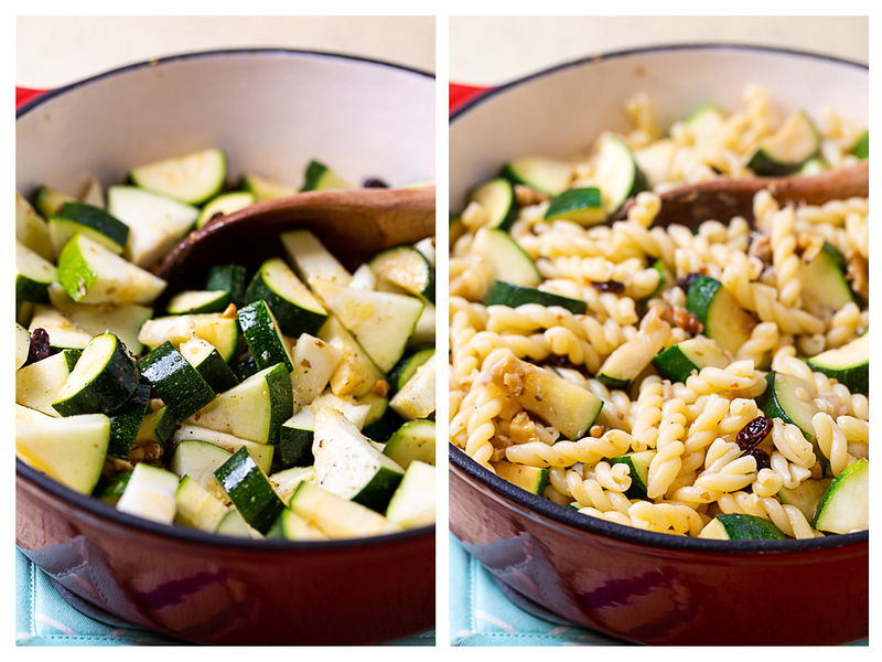 Photo collage showing zucchini added to the pan and then pasta.