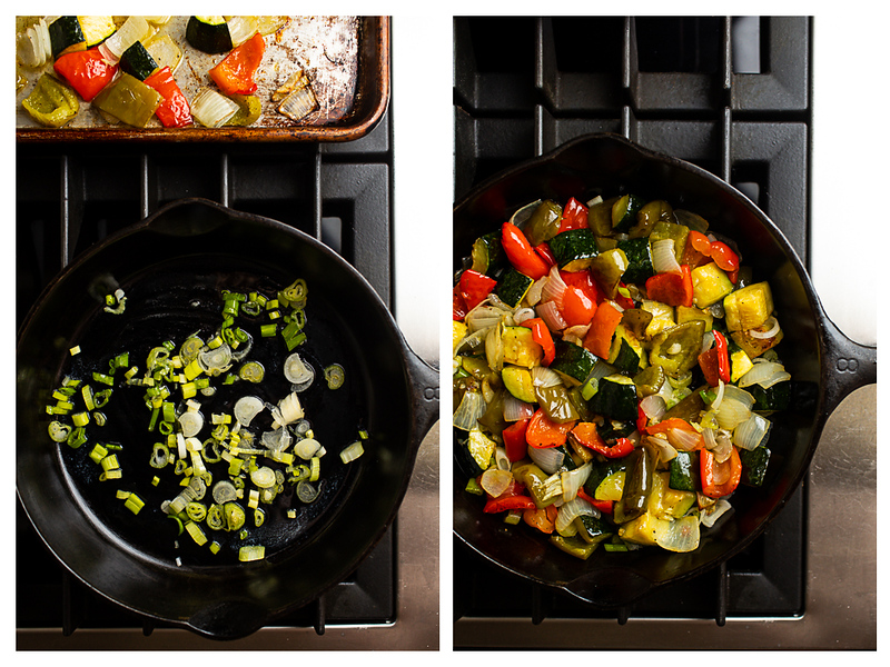 Photo collage showing green onions in a skillet and then roasted vegetables.