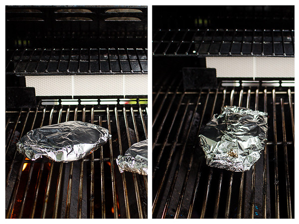 Photo collage showing potato packets on grill.