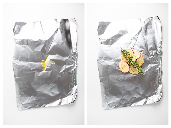 Photo collage showing aluminum foil with olive oil on it and then potatoes and rosemary on it.