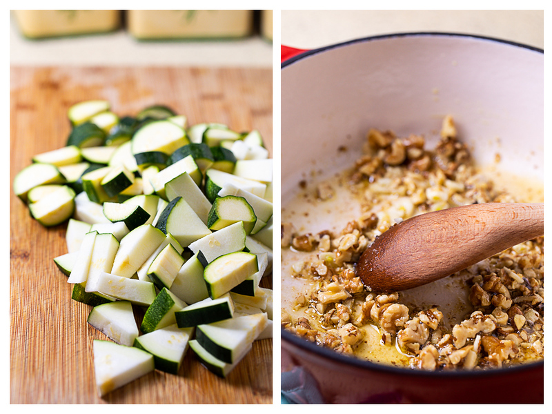 Photo collage showing chopped zucchini and walnuts being browned in a skillet.