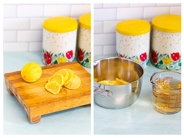 Photo collage showing lemons being sliced and added to a pan.