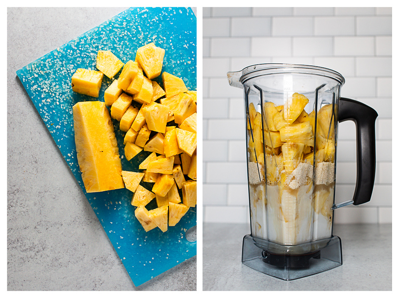 Photo collage showing pineapple being chopped and ingredients in a blender.