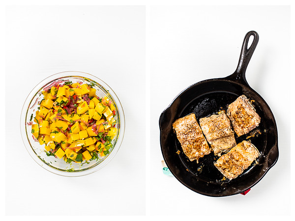 Photo collage showing mango salsa and salmon being seared in a pan.